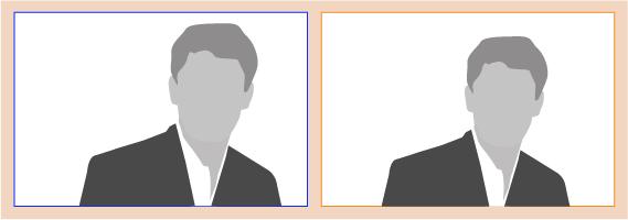 Man sieht, dass die Person weniger extrem aus der vertikalen Bildmitte gerückt ist und die Person im Beispiel etwas verkleinert werden musste, damit die Augenpartie mit der horizontalen Linie korrespondiert. Dadurch fügt sich die Person harmonischer ins Gesamtformat. ©Wasselowski