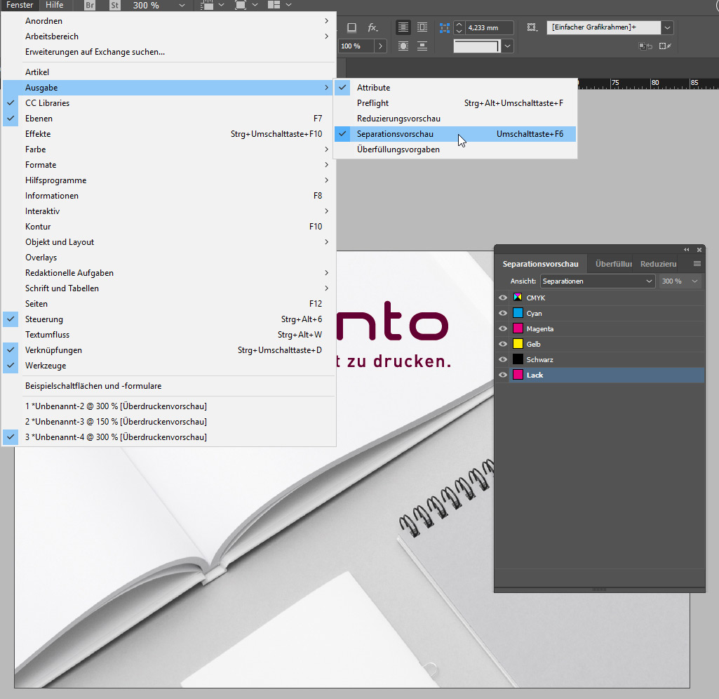 Separationsvorschau bei Adobe InDesign