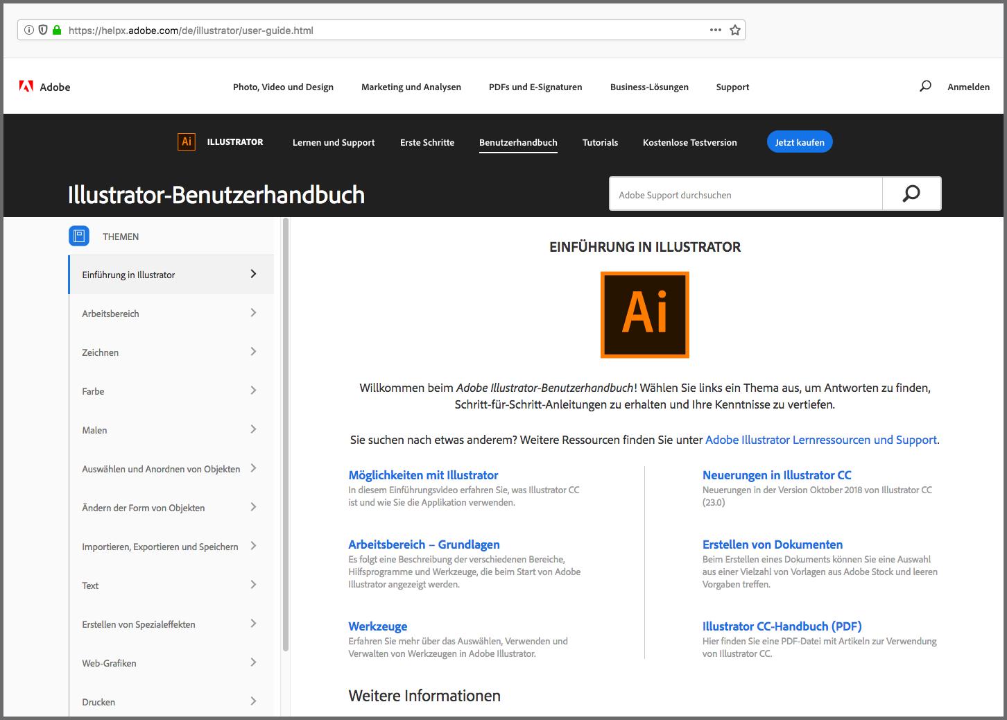 Online-Handbuch von Adobe