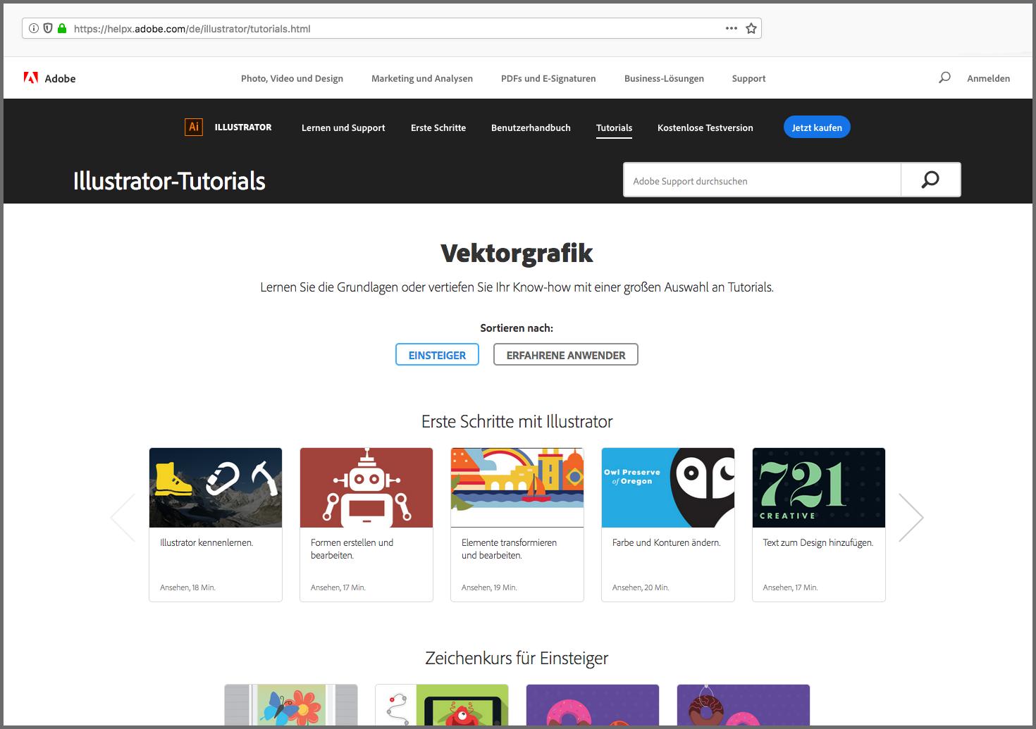 Online-Tutorials von Adobe