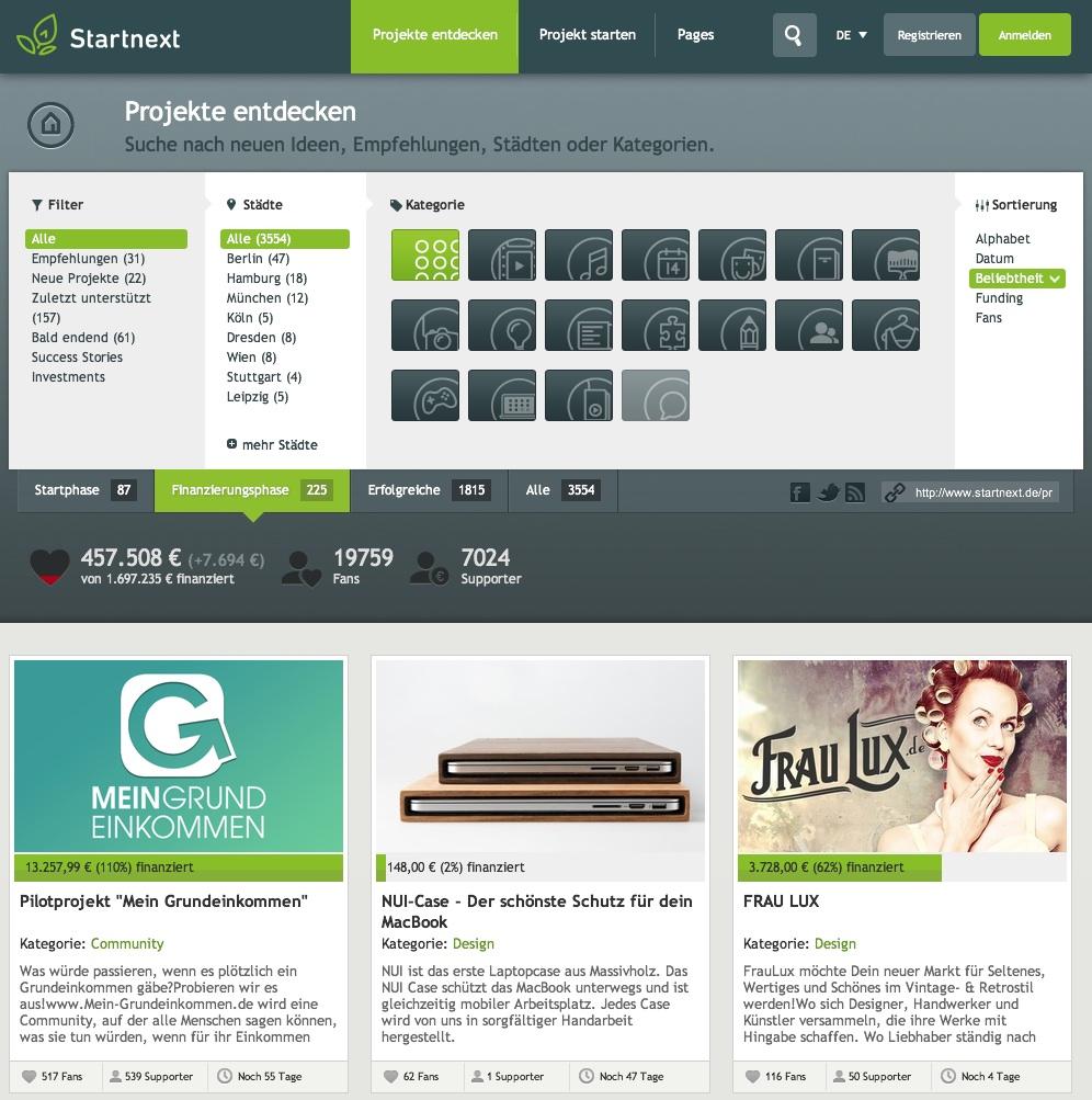 Crowdfunding Projekte auf Startnext